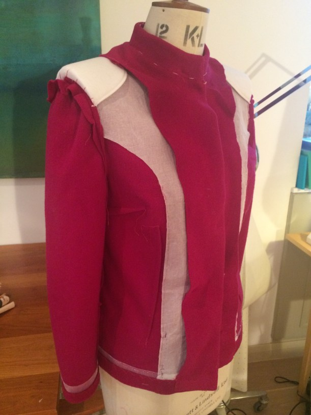 Tailored jacket, showing interfacing and shoulder pads