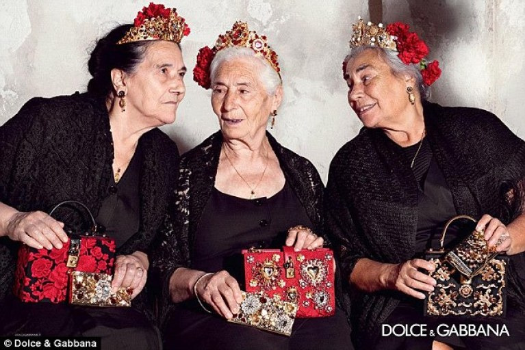 2015 D&G advertisement with three old ladies