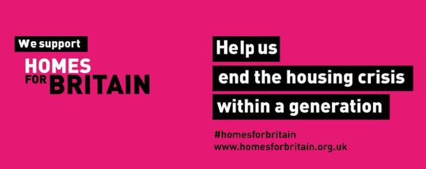 Homes for britain pink and black logo