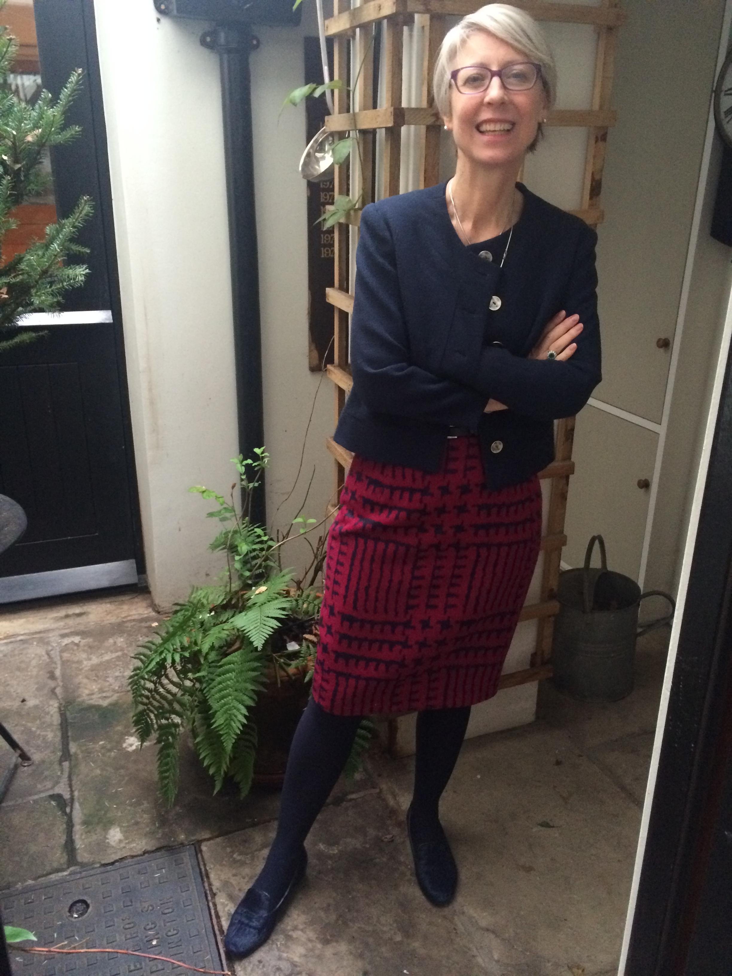 Squiggle skirt, navy jacket