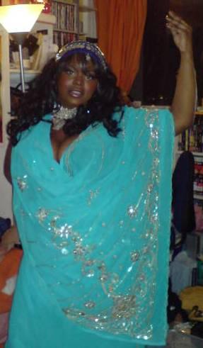 Charlene in her sari
