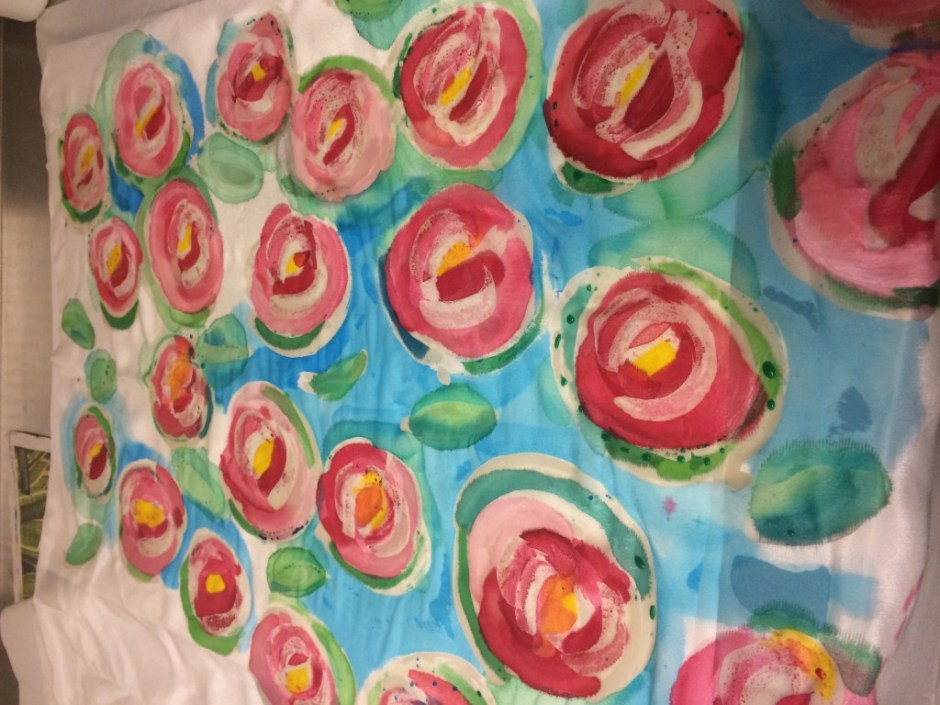 silk painting - roses