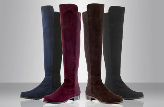 Knee boots in black and other shades