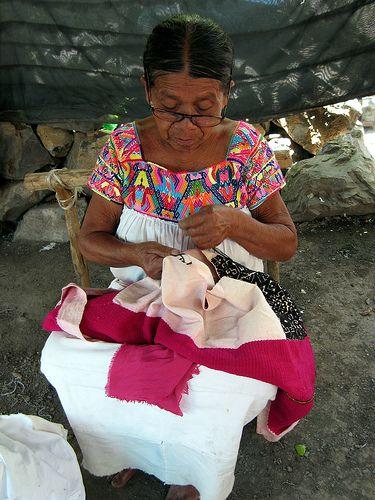 Otomi embroiderer, Mexico