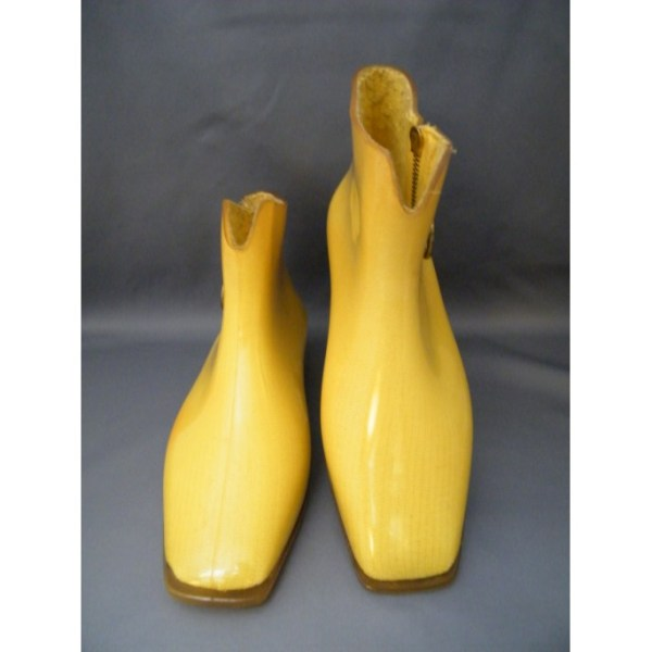 Yellow fabric uppers encased in clear PVC