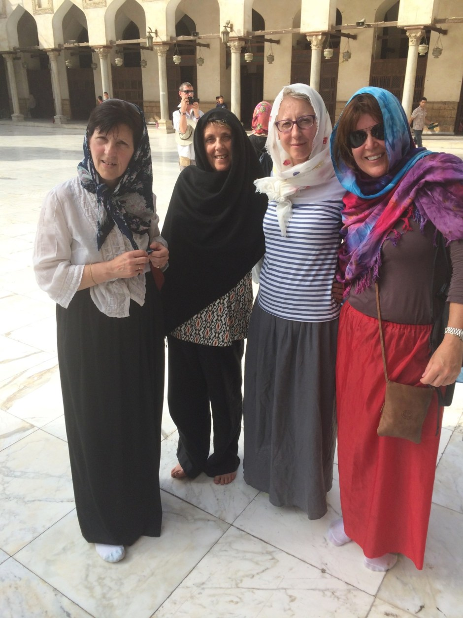 Four Christian ladies in Mosque
