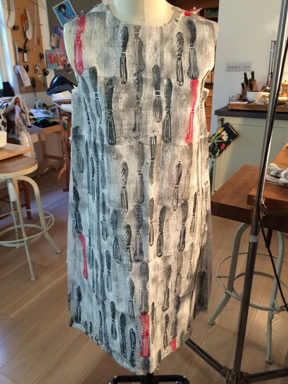 Lino printed dress on the stand