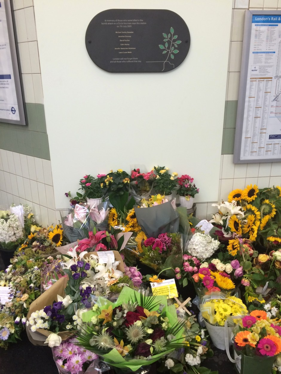 Edgware Road station flowers 7 July commemoration