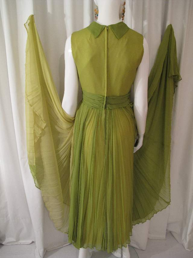 green silk chiffon dress