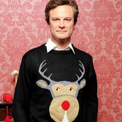 Colin Firth in reindeer jumper