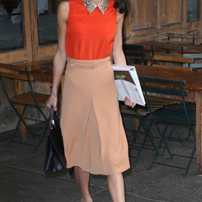 Python collar and pleated skirt
