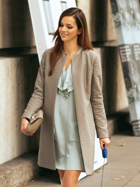 collarless open coat