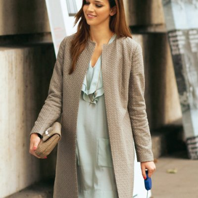 collarless open coat