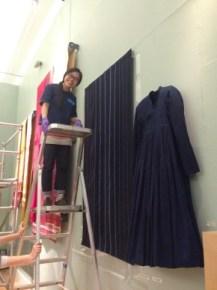 Indigo dress and fabric being displayed