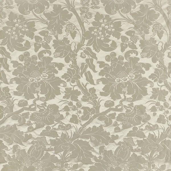 Grey silk damask curtaining fabric