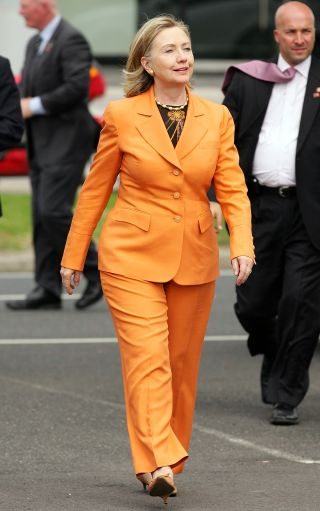 Hillary Clinton Orange pant suit