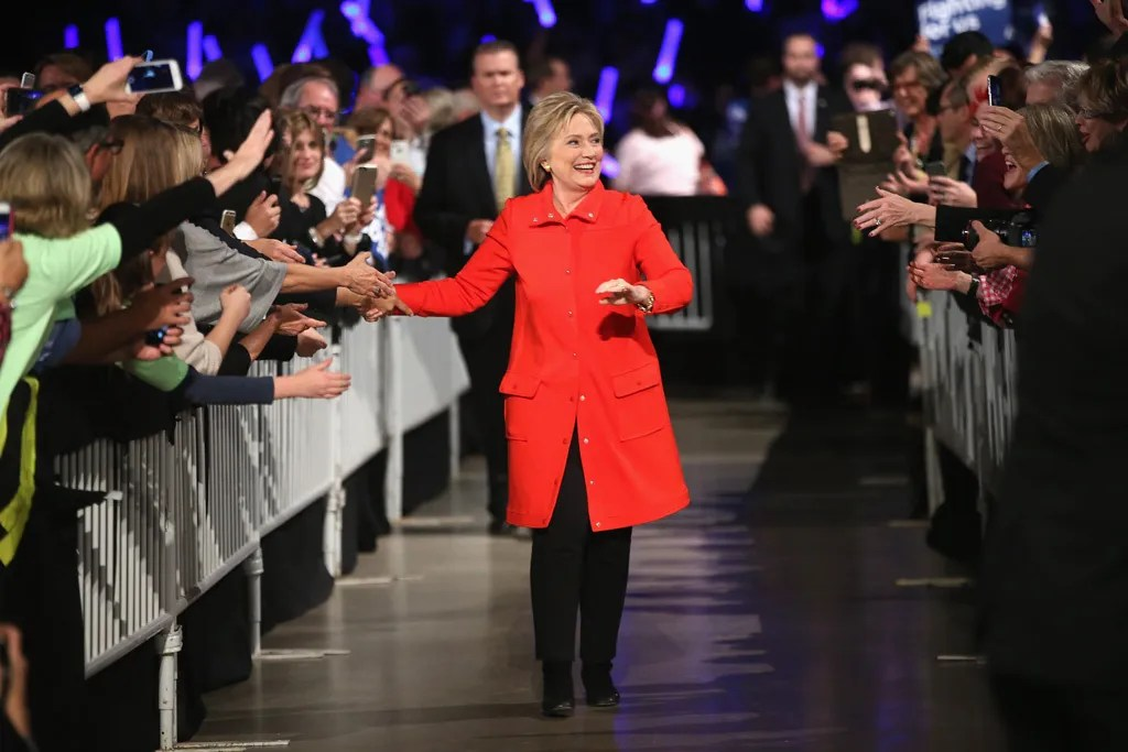 Hillary in red