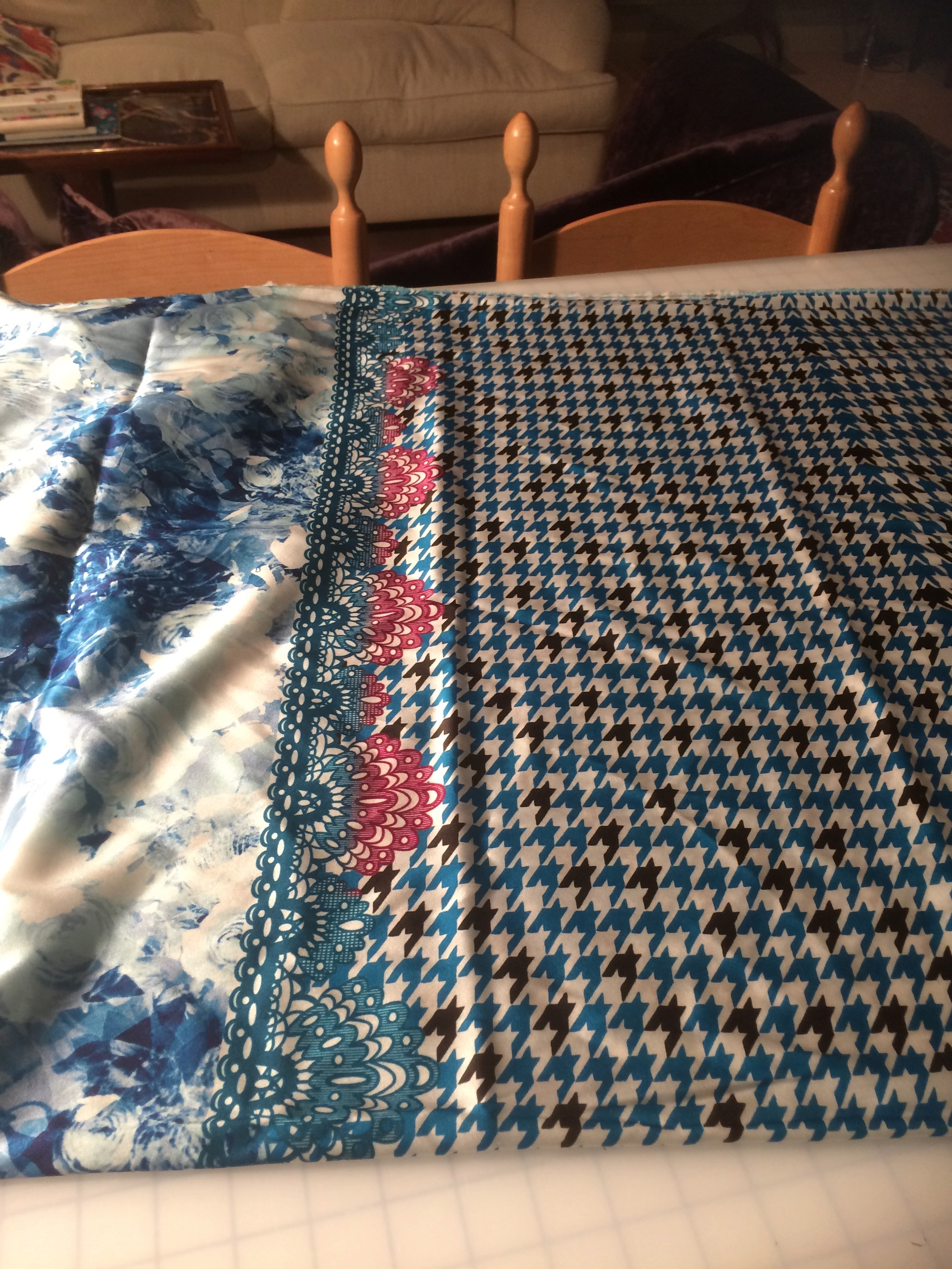 Silk fabric with two different prints