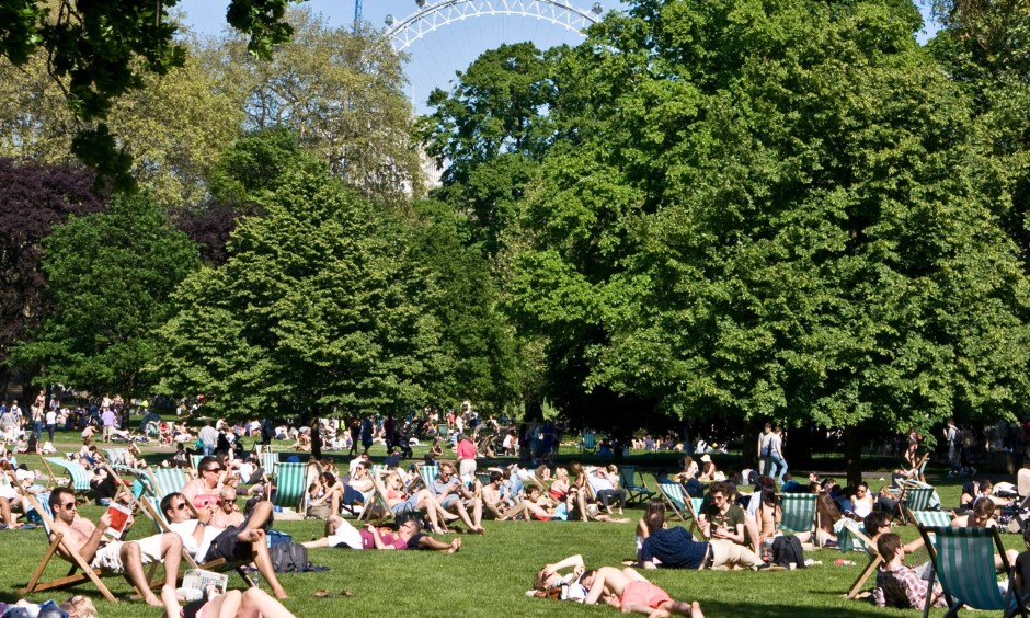 sunbathing in St James Park