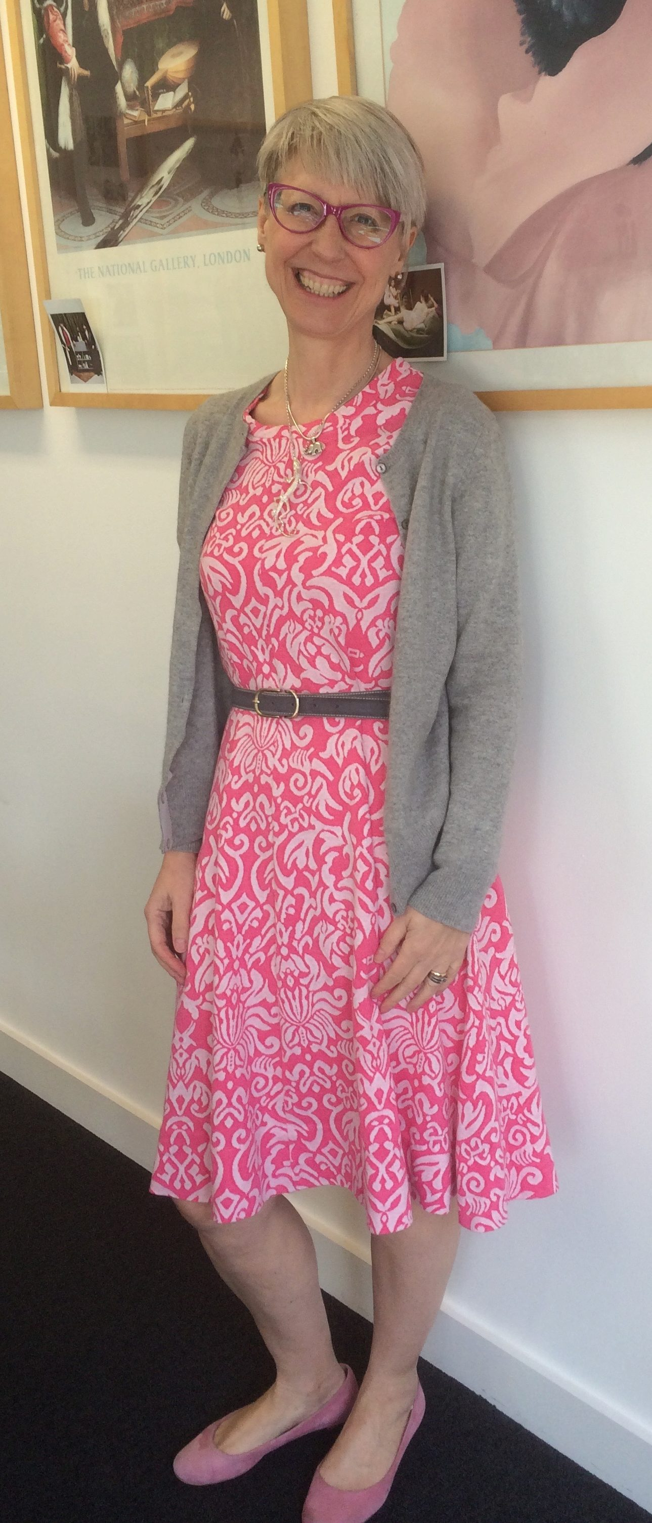 DVF pattern in pink jersey with cashmere cardigan