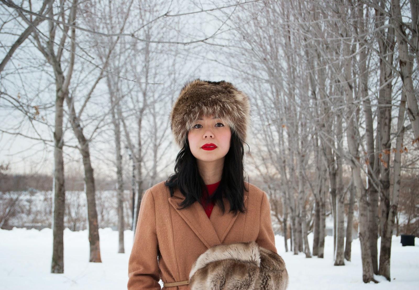 Fake fur hat and muff