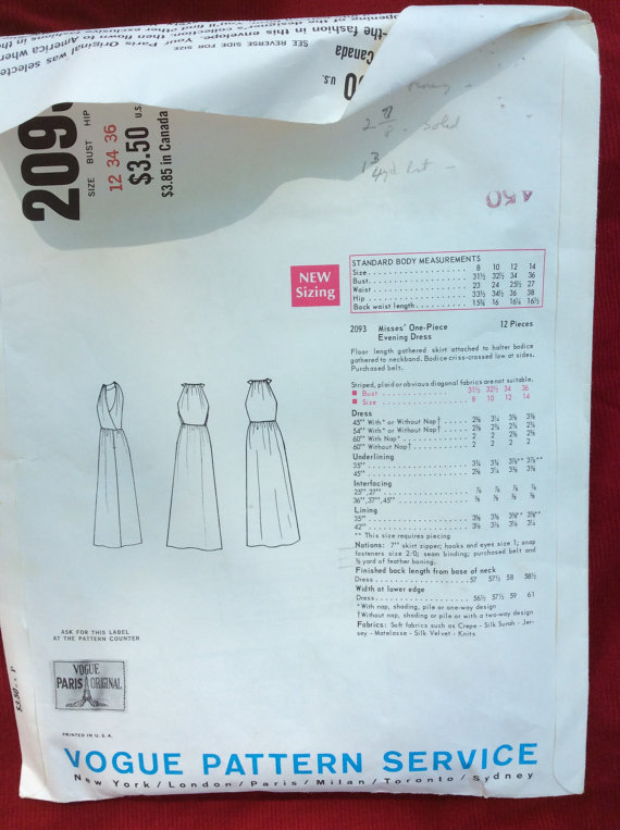 Vogue 2093 technical drawing