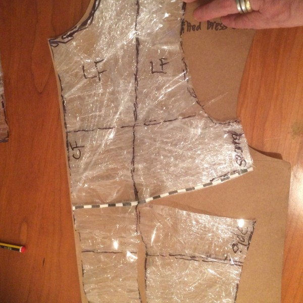 Cling film draped pattern with drafted bodice block (front)