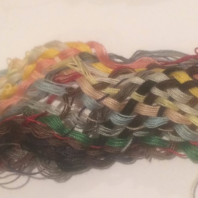 Close up of actual used thread plait