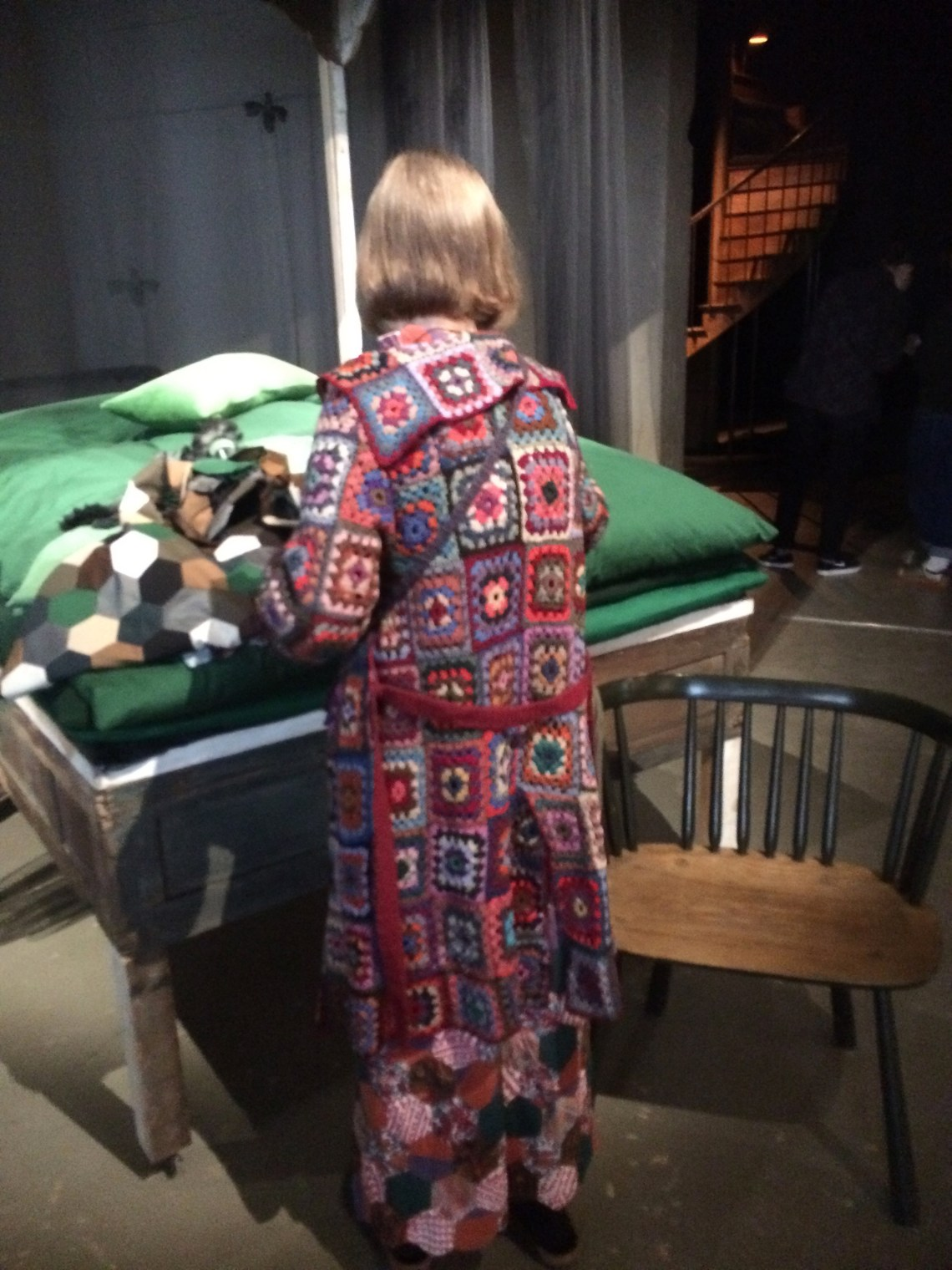 Rachel Scott showing her patchwork coat and dress