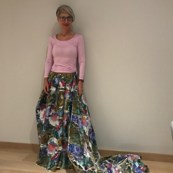 Fabric wrapped round as a long skirt
