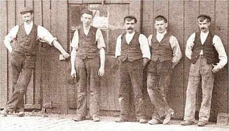 Workmen in Fleetwood, on a break