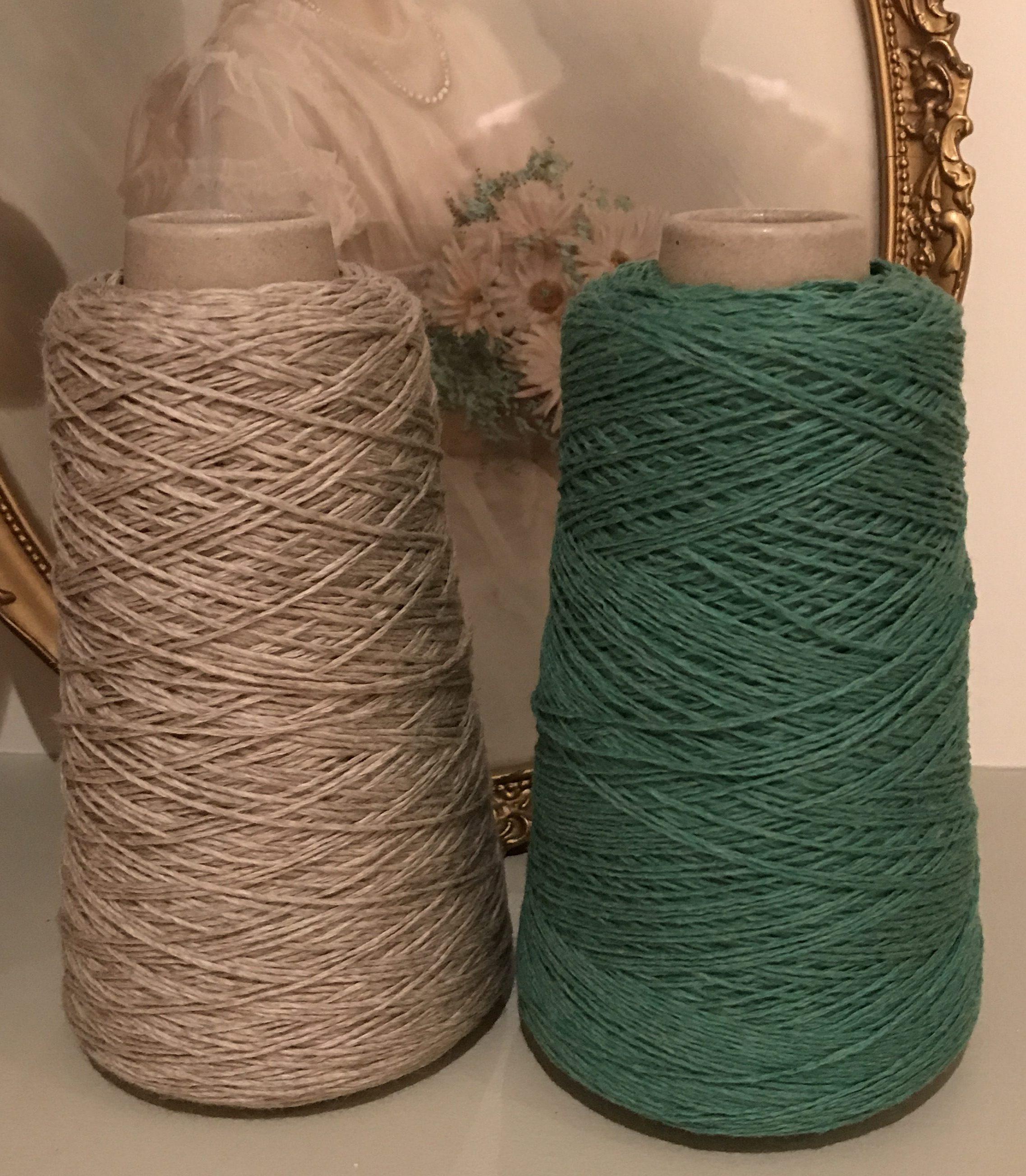Green? Or beige? Merino yarn for my EZ sweater
