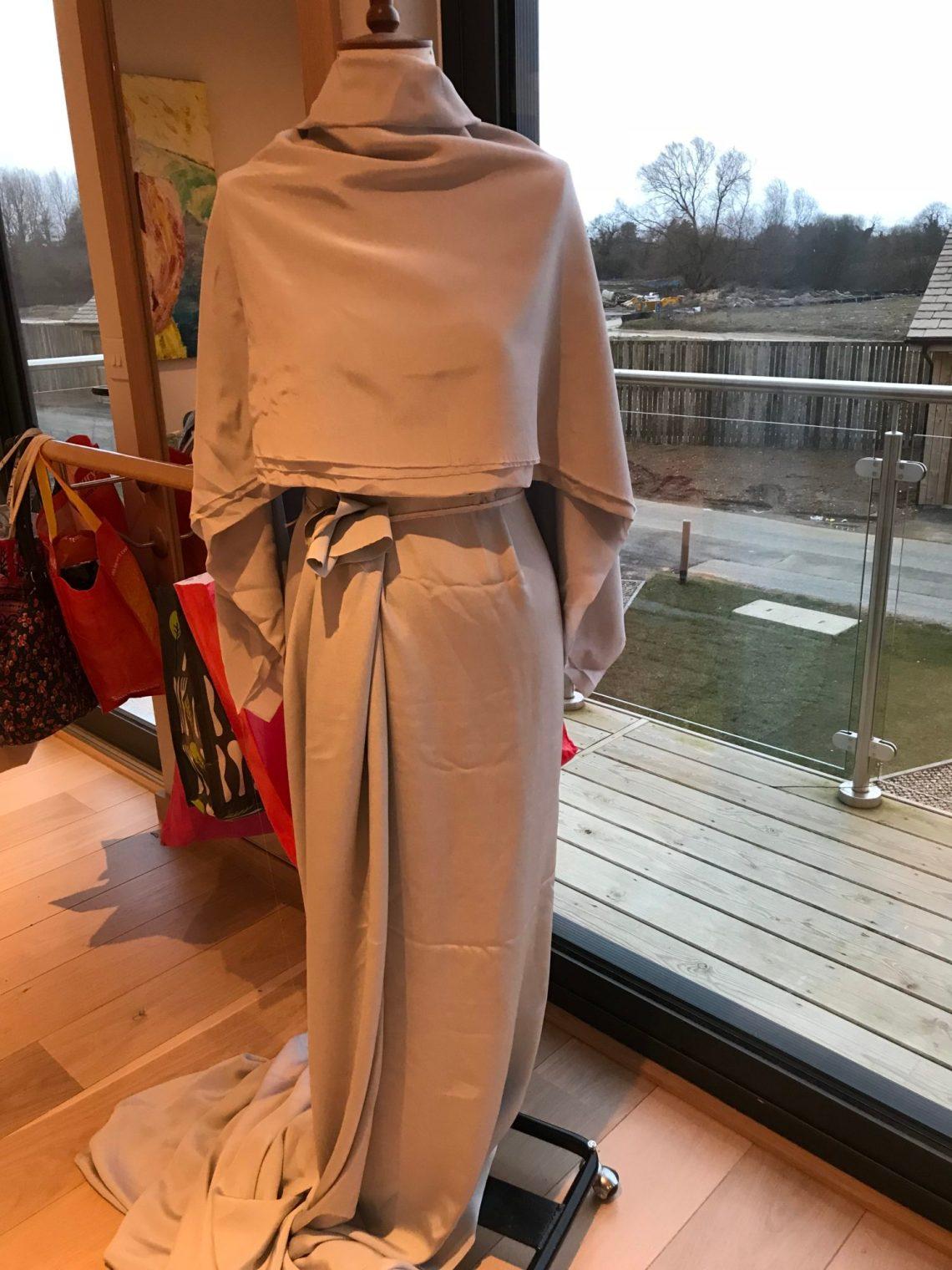 Draped grey silk Evening skirt