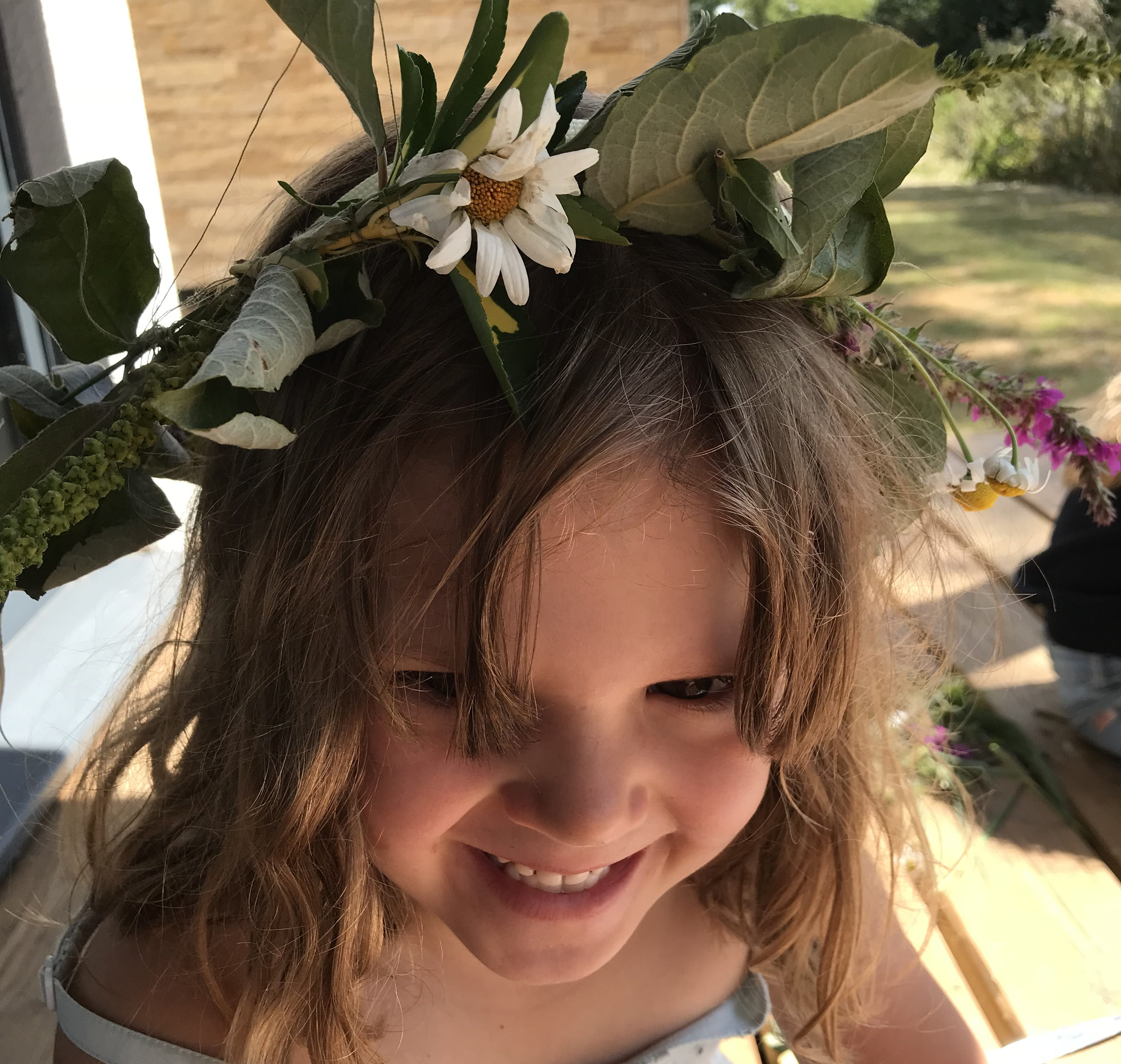 Maia with her hand made flower crown