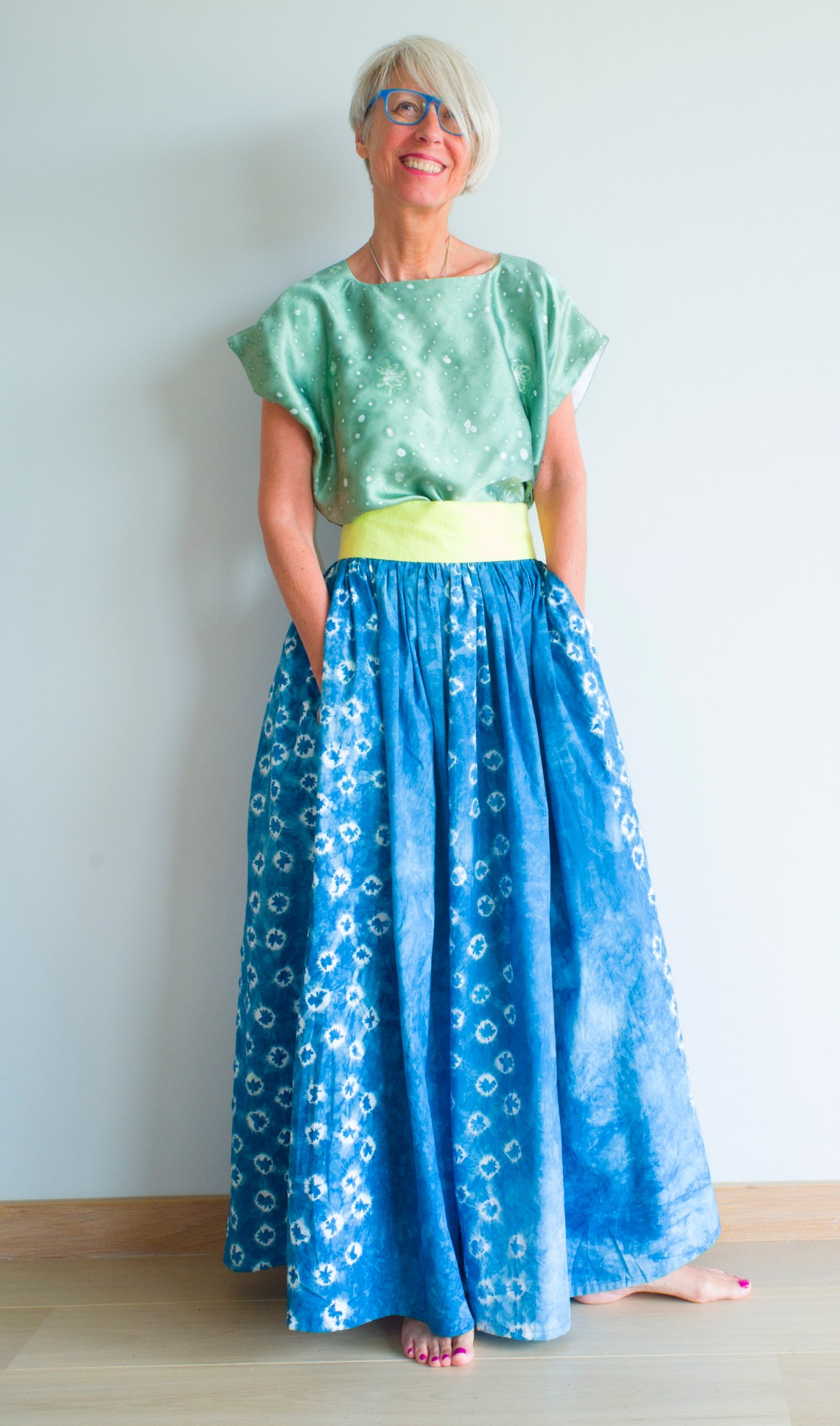 Silk batik huipil with tie dye indigo skirt