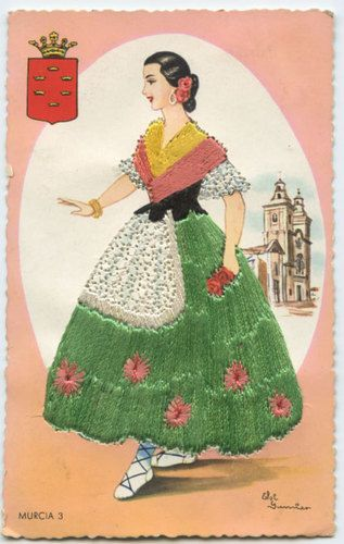Embroidered picture post card
