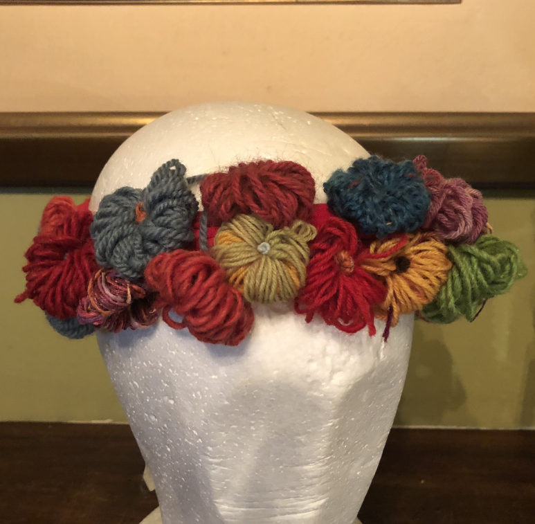 Sue's woollen flower crown