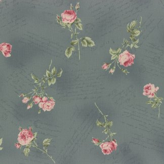 Antique Rose Slate Blue with Pink Floral Flowers Roses and Script Writing Designer Quilting Sewing Fabric by Lecien - 1/2 Yard 31151 70