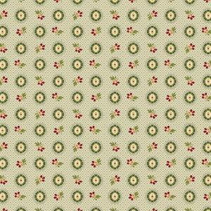 Bally Hall Fabric - Half Yard -  Green Small Oval Medallion & Flowers on Cream Shirting Print Di Ford Reproduction Fabric Andover A-8528-G