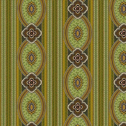Bally Hall Fabric - Half Yard - Olive Green Medallion Stripe Striped Print Di Ford Reproduction Quilt Fabric Andover A-8523-G