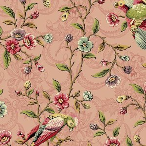 Bally Hall Fabric - Half Yard - Rose Pink Large Scale Floral Print with Birds Di Ford Reproduction Quilt Fabric Andover A-8522-E