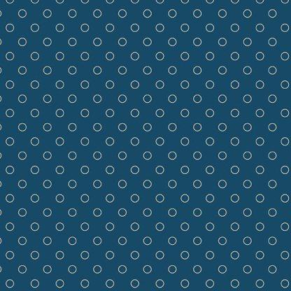 Blue Sky Fabric - Andover Fabric - Half Yard - Cream Circles Dots on Dark Blue Fabric Edyta Sitar Laundry Basket Quilts Fabric A-8515-B