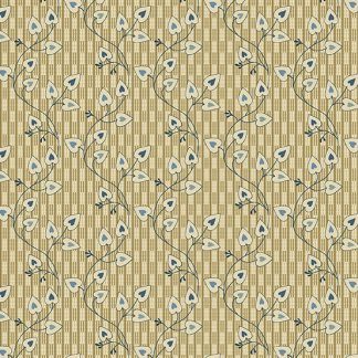 Blue Sky Fabric - Andover Fabric - Half Yard - Reproduction Small Cream White Heart Vines on Tan Edyta Sitar Laundry Basket Quilts A-8507-N