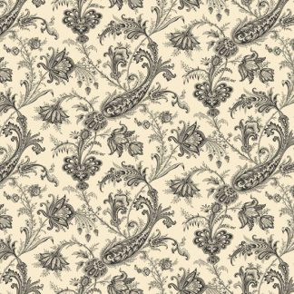Carlisle Fabric - Half Yard - Kathy Hall - Jacobean Floral Cream with Black Large Scale Print Designer Quilt Fabric Andover - A-8469-K
