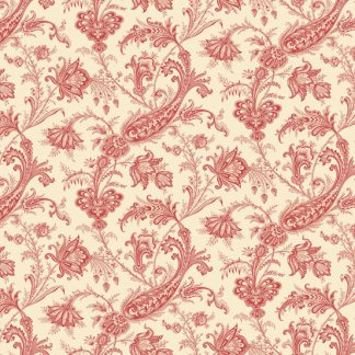 Carlisle Fabric - Half Yard - Kathy Hall - Jacobean Floral Cream with Red Large Scale Print Designer Quilt Fabric Andover - A-8469-R