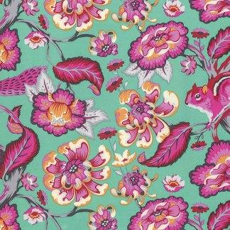 Chipper - Half Yard - Tula Pink Fabric Chipmunk Sorbet Aqua Blue Pink Orange Free Spirit Fabrics Designer Quilt Fabric Sewing PWTP078SORBE
