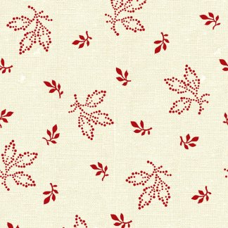 Chocolate & Cherry - Half Yard - White with Red Small Leaves Marsha McCloskey Cotton Sewing Quilting Fabric Clothworks Y1849-4