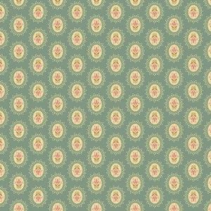 Crystal Farm Fabric - Andover Fabric - Half Yard - Edyta Sitar Laundry Basket Quilts Floral Cameo Medallion Dots on Teal Blue A-8616-T