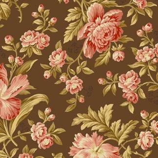 Crystal Farm Fabric - Andover Fabric - Half Yard - Edyta Sitar Laundry Basket Quilts Floral Pink Large Scale Roses Chocolate Brown A-8614-N