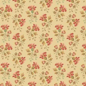 Crystal Farm Fabric - Andover Fabric - Half Yard - Edyta Sitar Laundry Basket Quilts Floral Pink Wildflowers on Light Tan Cream A-8615-L
